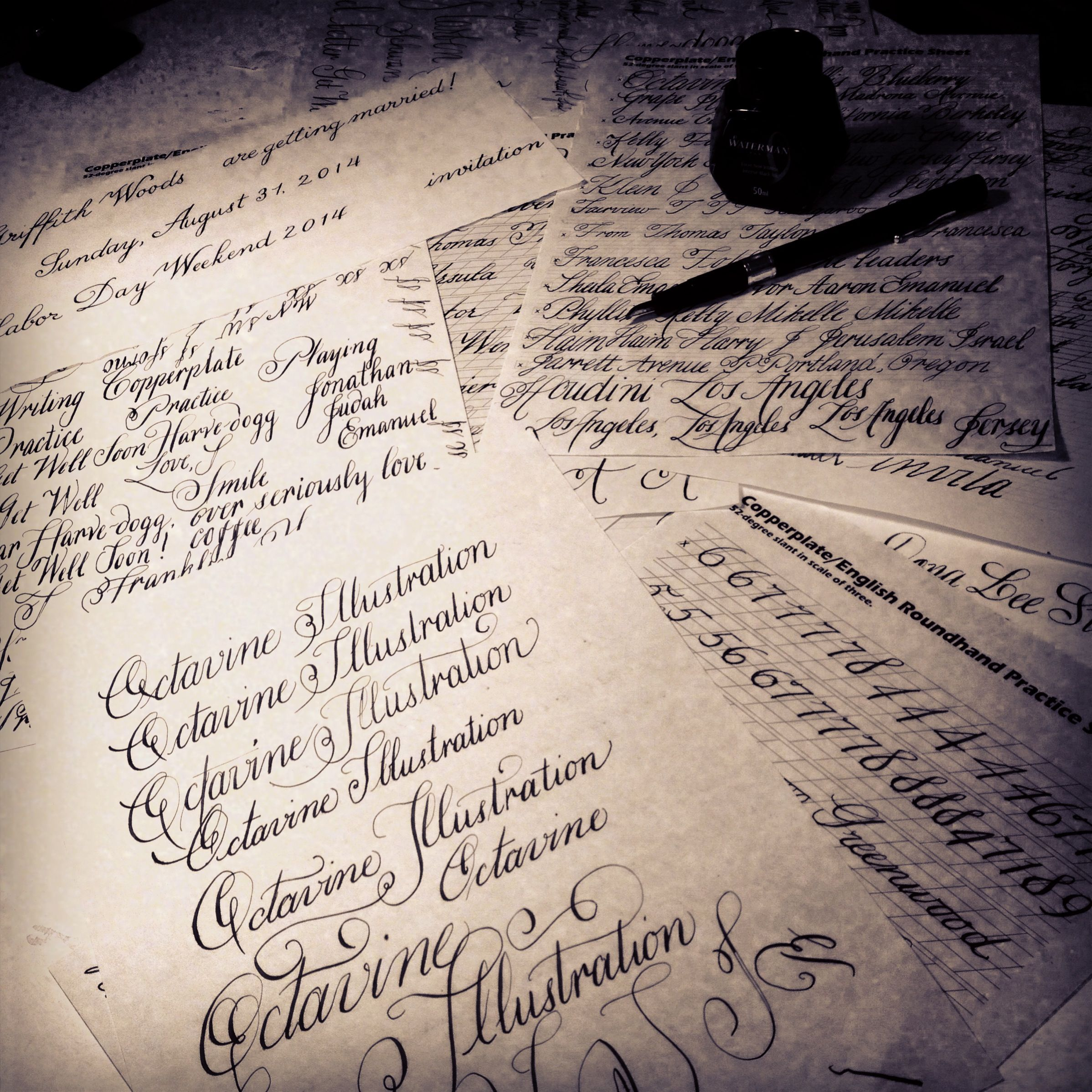 Copperplate Calligraphy Practice Sheets By Cara Buchalter