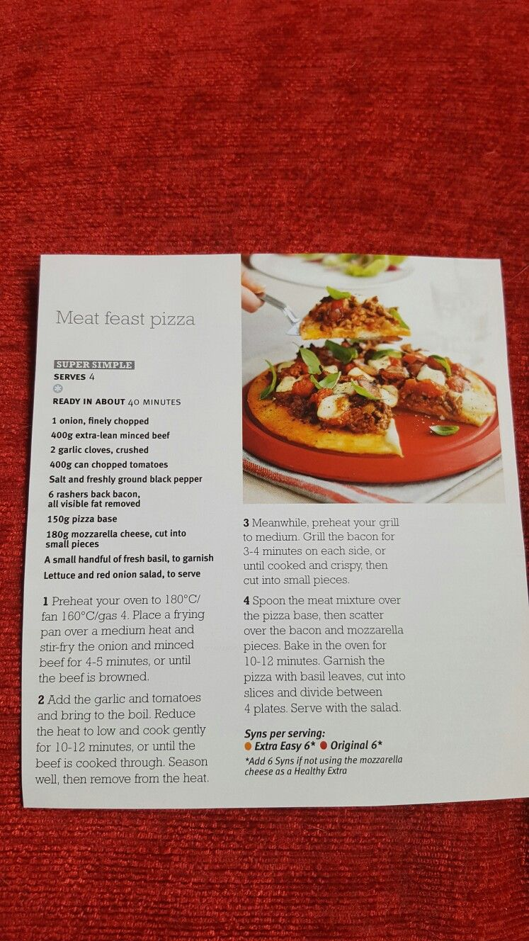 Slimming World Meat Feast Pizza Healthy Recipes