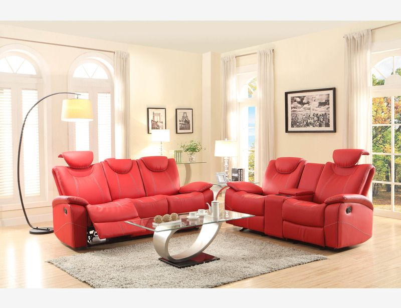 Sofas For Sale Modern Red Leather Reclining Sofa Loveseat Motion Living Adjust Head