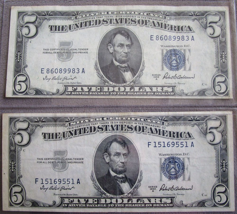 Lot of two 1953a 5 dollar bills silver certificate blue seal lot of two 1953a 5 dollar bills silver certificate blue seal ungraded see pics silvercertificate 1betcityfo Images