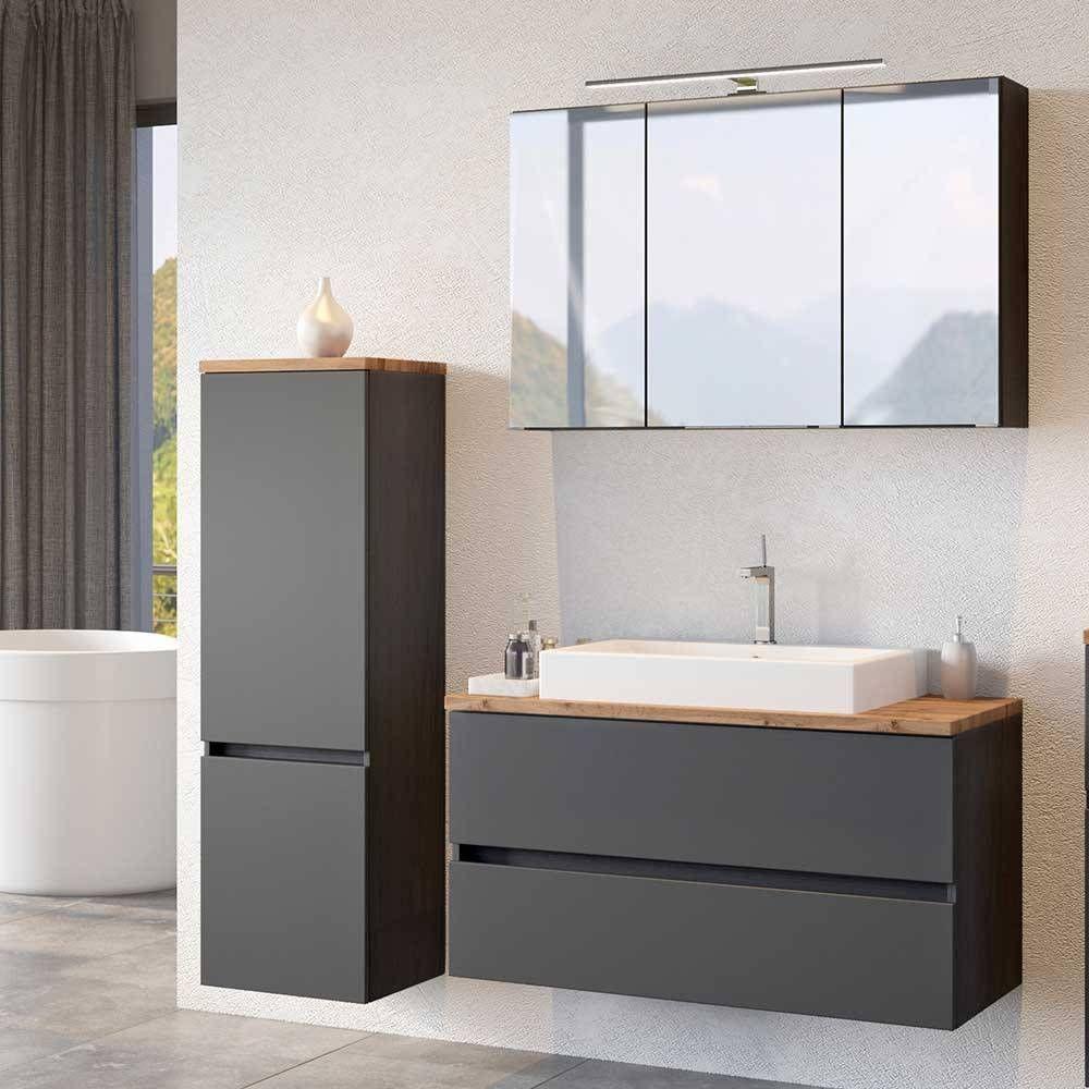 Moderne Badmobel Kombination In Dunklem Grau Wildeiche Noricas 3 Teilig In 2020 Moderne Badmobel Badezimmer Inspiration Badezimmerwaschtisch