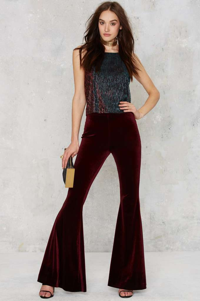 c526e5dd010 Nasty Gal Annabel Lee Velvet Pants - Burgundy - Clothes