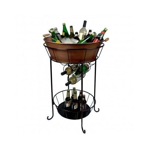 Copper Party Ice Tub W/Stand Antiqued Beverage Cooler Bucket Beer Wine Bar Patio
