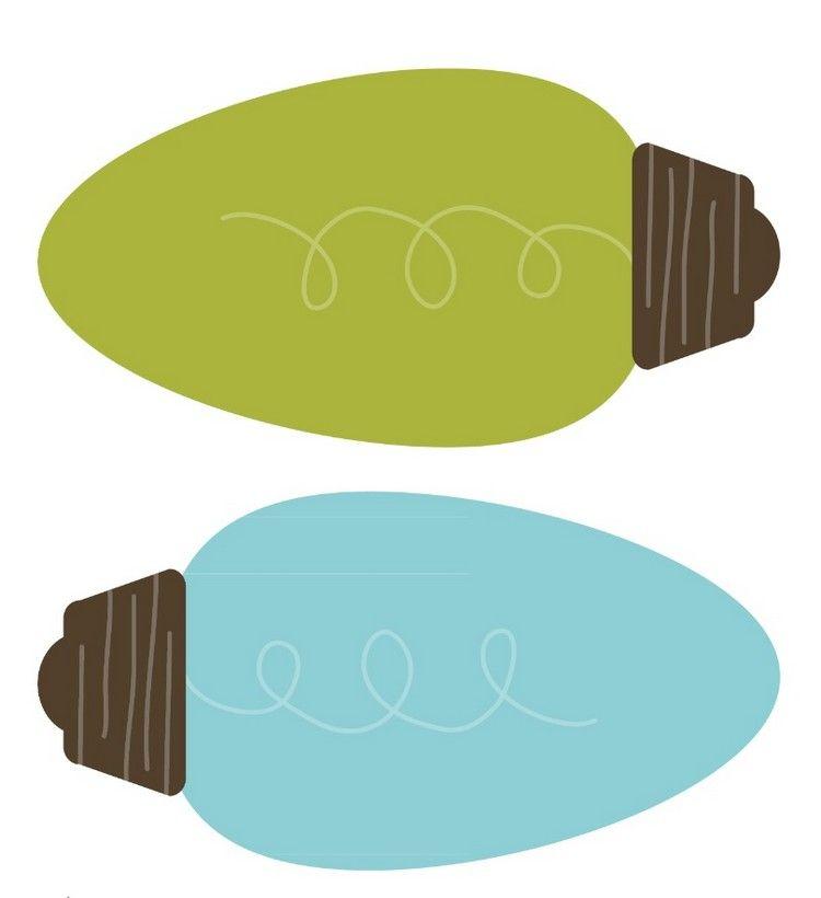 glühbirnen in blau und grün zum ausdrucken  bricolage