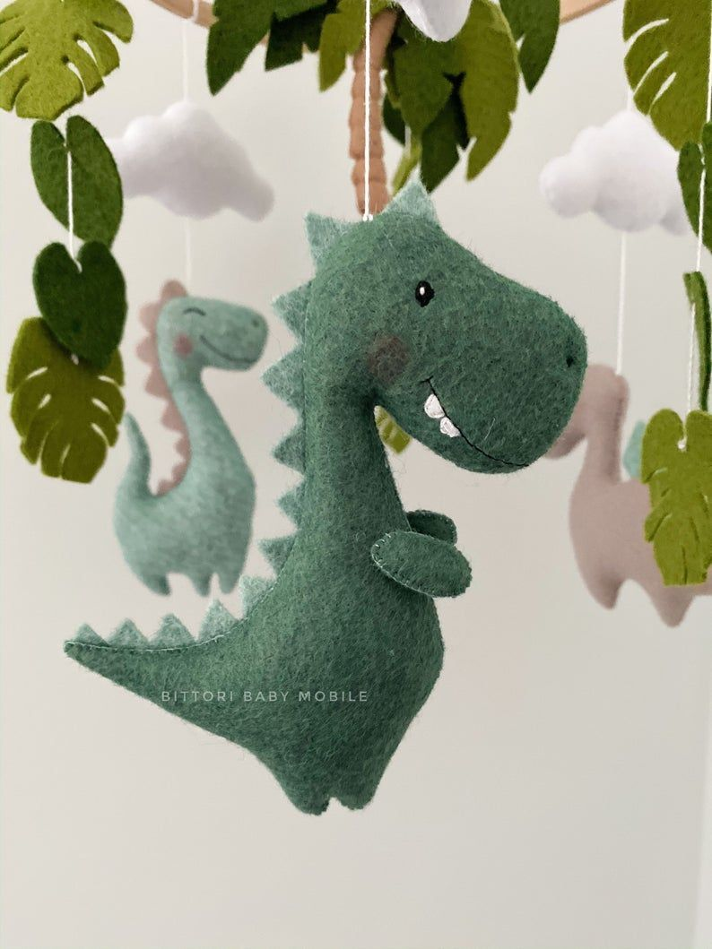 Dinosaur mobile gift for baby girl and boy, nursery mobile for new baby gift, expecting mom g...