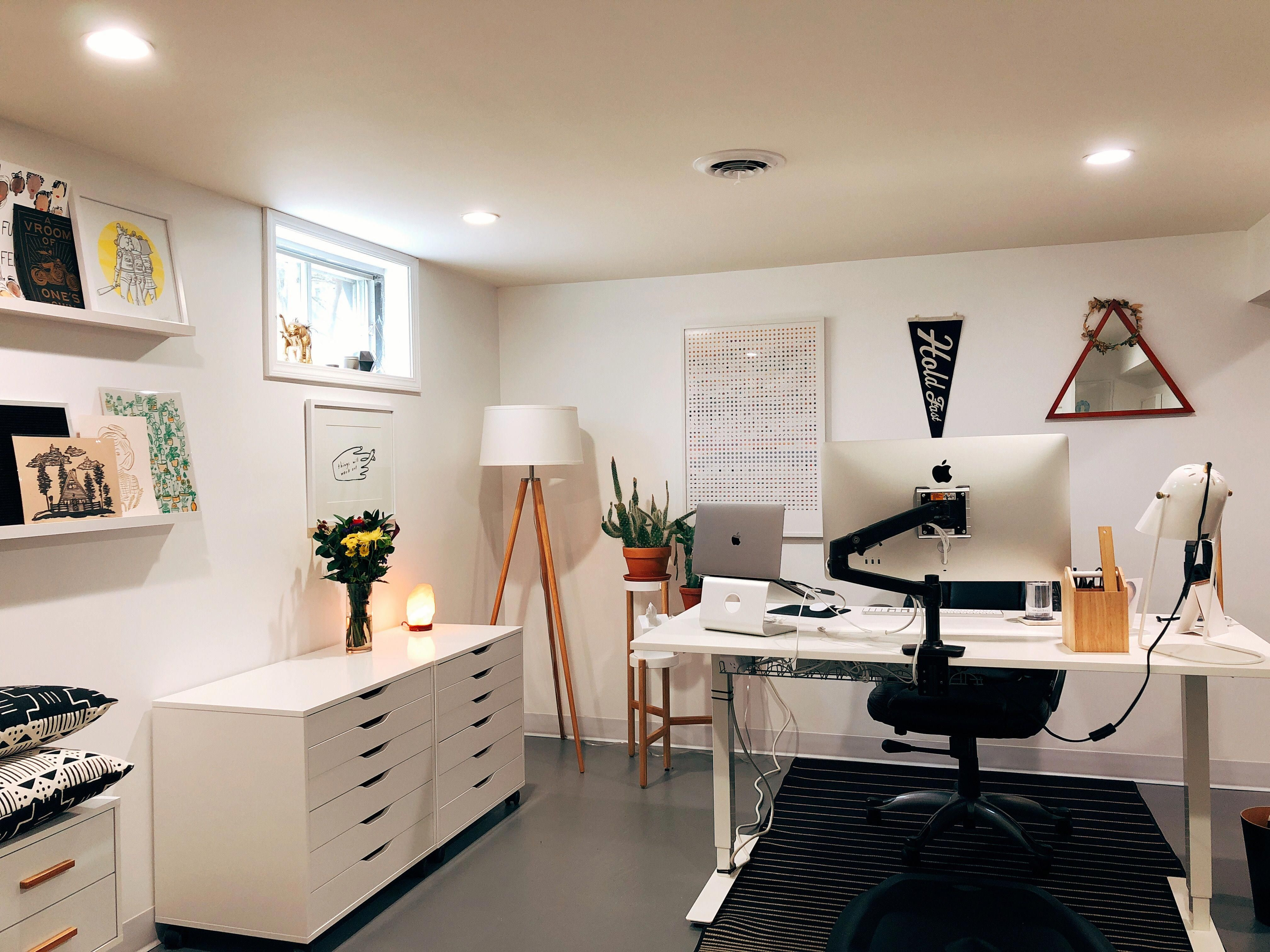 Ikea Alex Ikea Skarsta Home Office Gray Floor Basement Renovation Basement Office Homeoffi Office Furniture Design Ikea Home Office Buy Office Furniture
