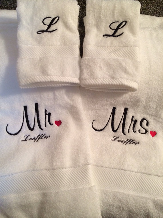 Custom Embroidered Wedding Gift Towel Set Any Name Color Includes 2