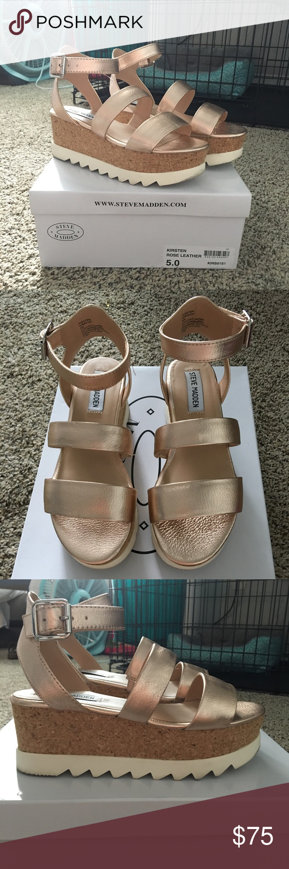 baef3cee82d5 Steve Madden - Kirsten rose gold platform sandals Only worn once. Look like  new! Way more lightweight than they look and are super trendy!