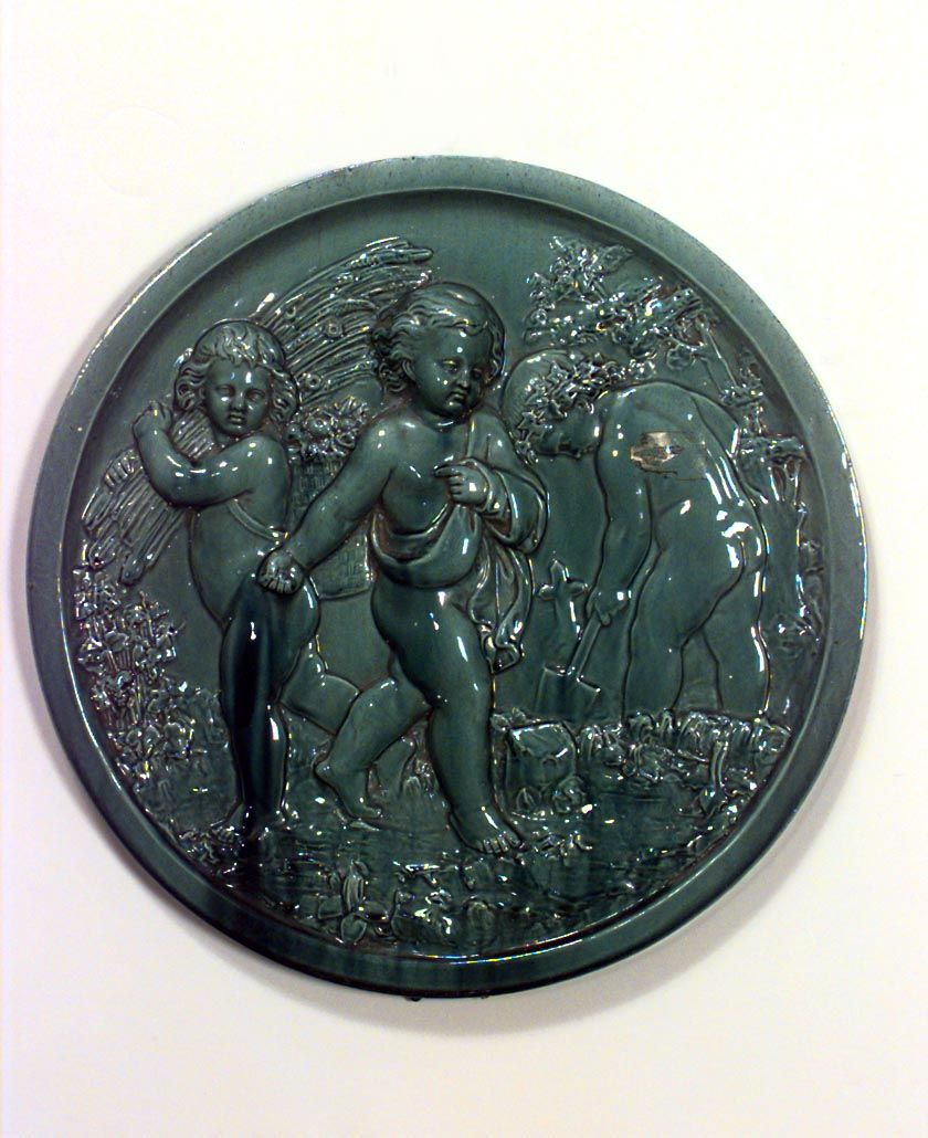 French Victorian wall plaque misc. wall item porcelain