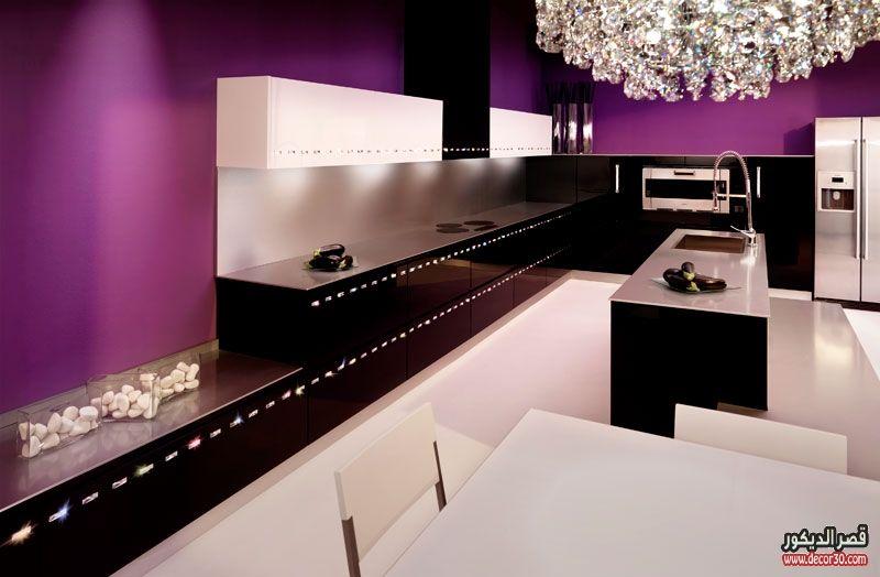 ديزاينات مطابخ حديثة احدث تصميمات مطابخ الوميتال قصر الديكور Elegant Kitchen Design Minimalist Kitchen Design Purple Kitchen Decor