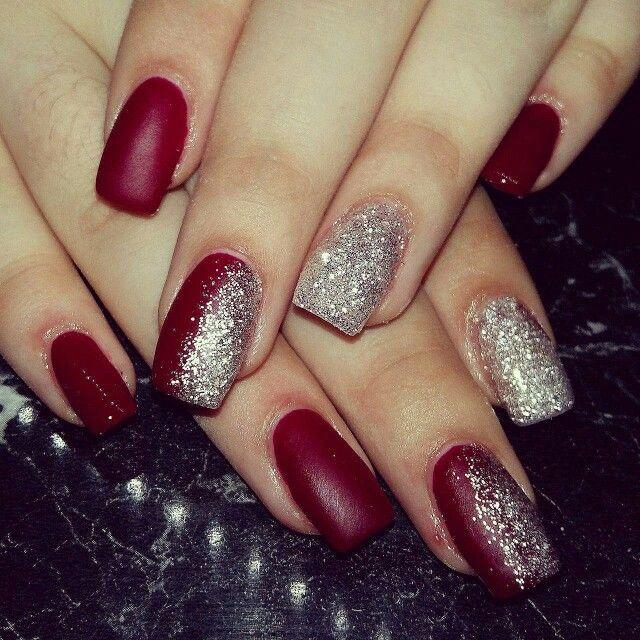 Burgundy And Silver Nails Silver Nails Red And Silver Nails Nails