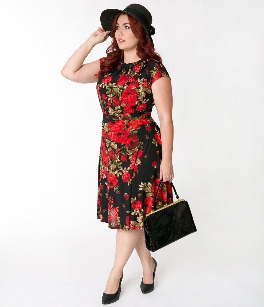 8f6738c85c9 Folter Plus Size Black   Red Roses Cap Sleeve Bombshell Dress ...