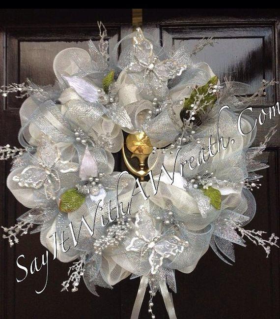 SILVER CREAM deco mesh WEDDING wreath  Wreaths all