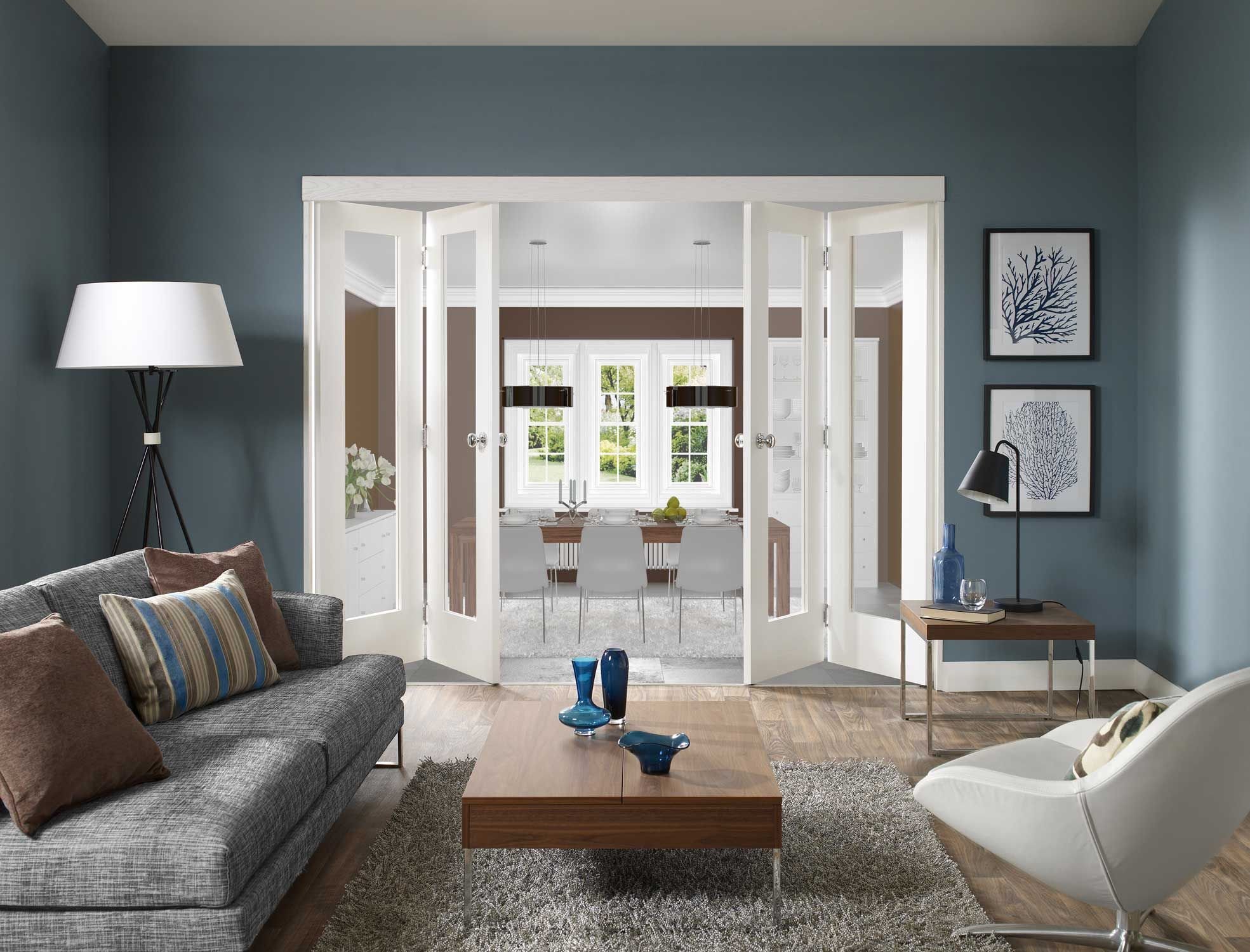 modernes wohnzimmer blau mit falt-innentüren weiß | Living room ...