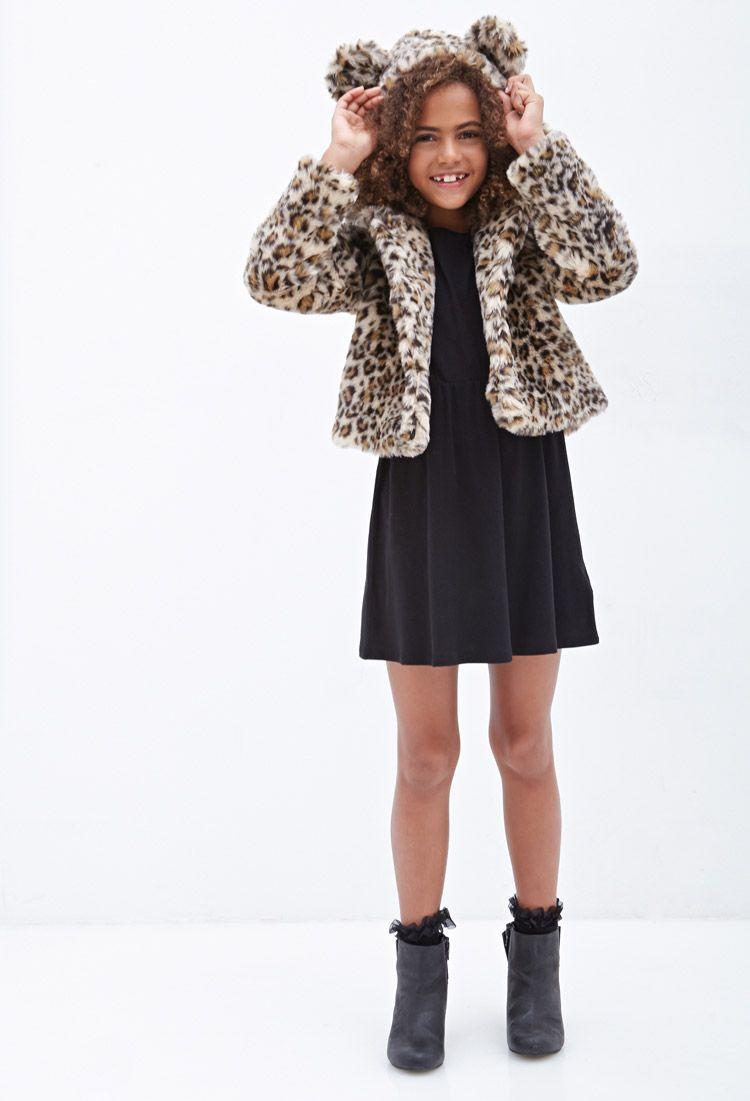 59f1bbf28a5e Hooded Leopard Faux Fur Jacket (Kids)   FOREVER21 girls - 2055878257 ...