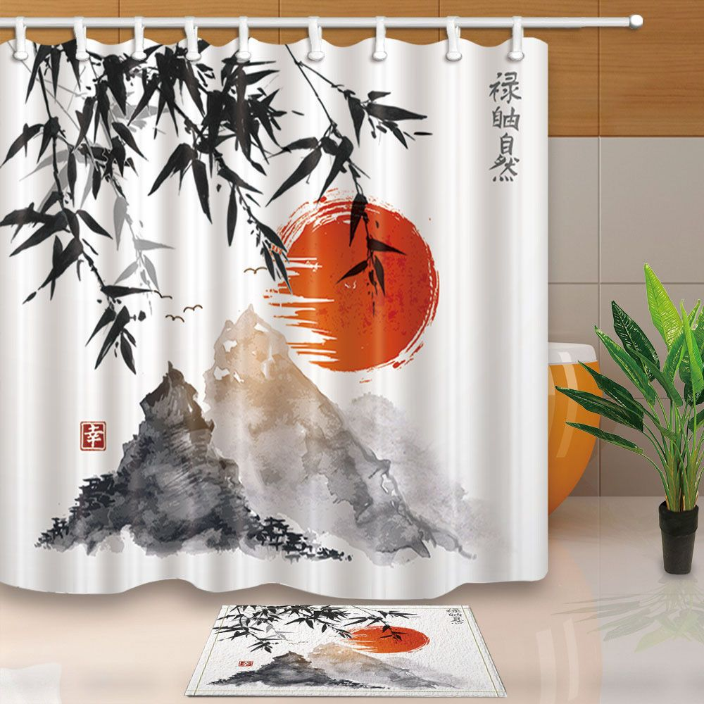 71 Japanese Ink Painting Bathroom Waterproof Polyester Shower