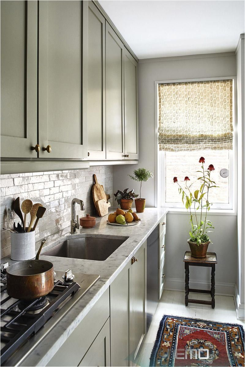 Eight Kitchens With Light Gray Cabinets That Ll Inspire Your Next Renovation Kitchen In 2020 Small Apartment Kitchen Light Grey Kitchen Cabinets Kitchen Cabinet Plans