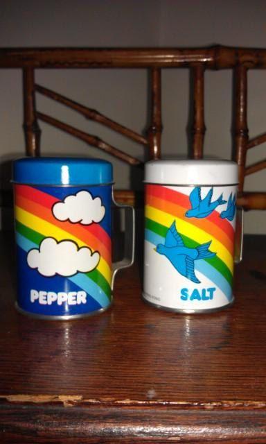 1980s Rainbow Salt & Pepper Shakers
