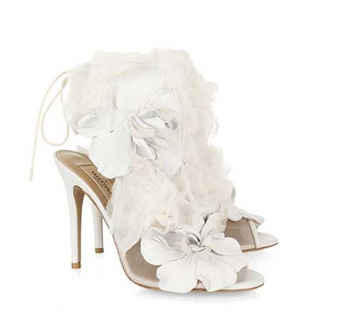 tulle-embellished mesh sandals, romantic tulle wedding shoes, ivory ...