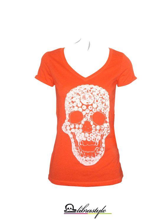 Orange White swarovski diamonds skull tshirt for by librastyle, €15.00