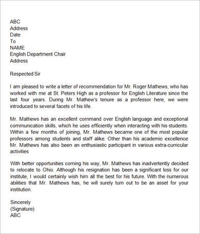 Sample Letter Of Recommendation For Teacher   Documents In