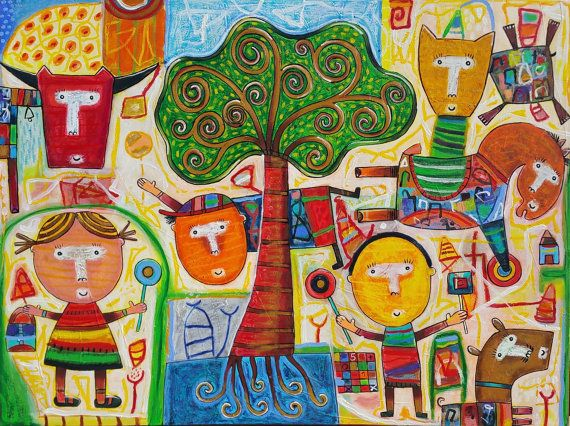Playing in the Park Oil on Canvas 36 x 48 inch. 91 x 122 cm. Year of production 2015 AUTHENTIC PIECE ONLY Sent directly from the artists personal