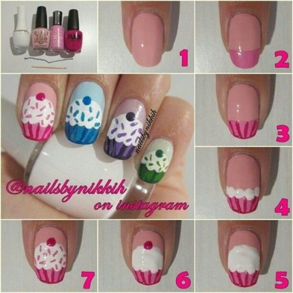 Easy Seven Steps How To Make DIY Cupcake Nail Art Design Idea With ...