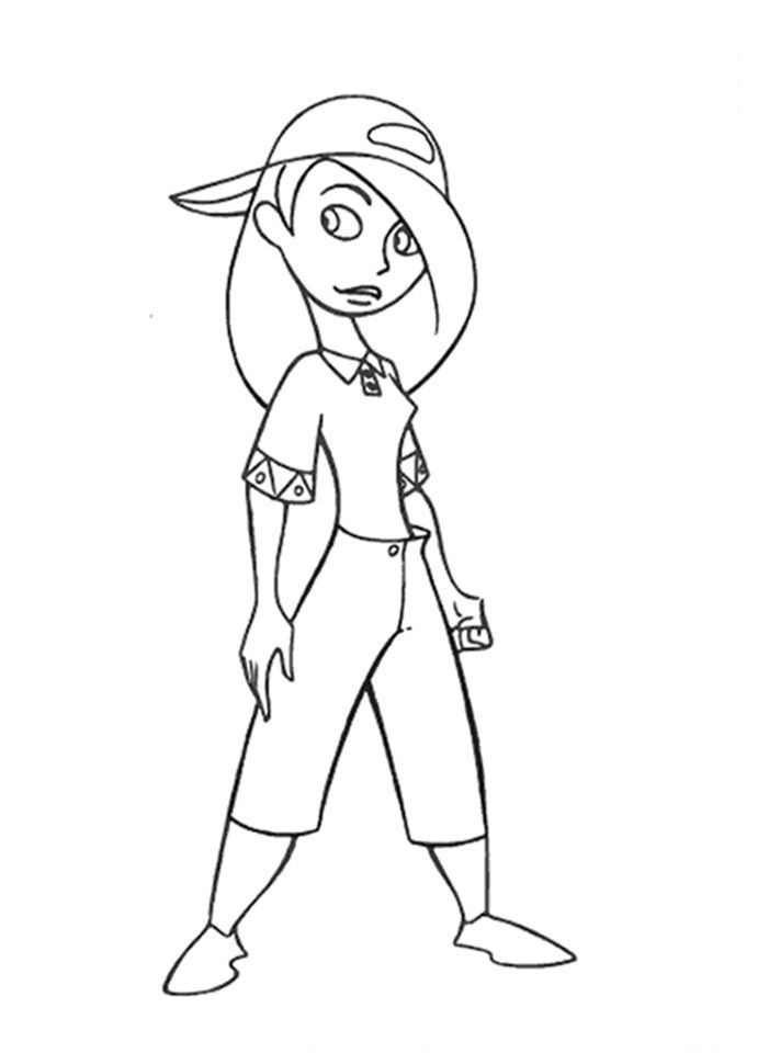 Kim Possible Pose With Hat Kim Possible Coloring Pages Pinterest