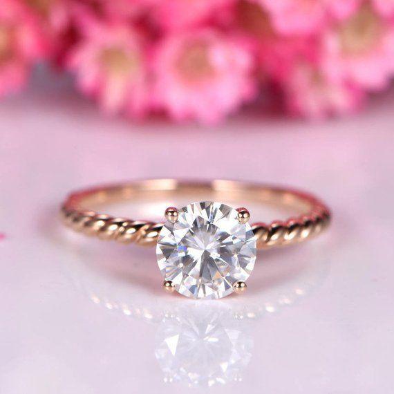 a2383d0a0714b4 Charles & Colvard moissanite engagement ring 7mm round cut moissanite plain  gold band twist wedding