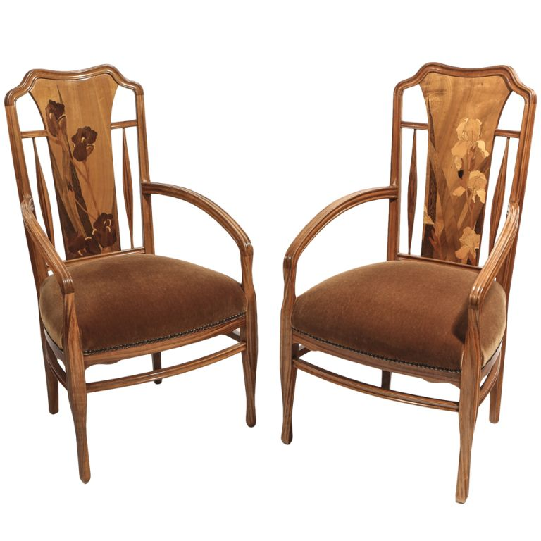French Art Nouveau Arm Chairs by, Louis Majorelle  | From a unique collection of antique and modern armchairs at http://www.1stdibs.com/furniture/seating/armchairs/