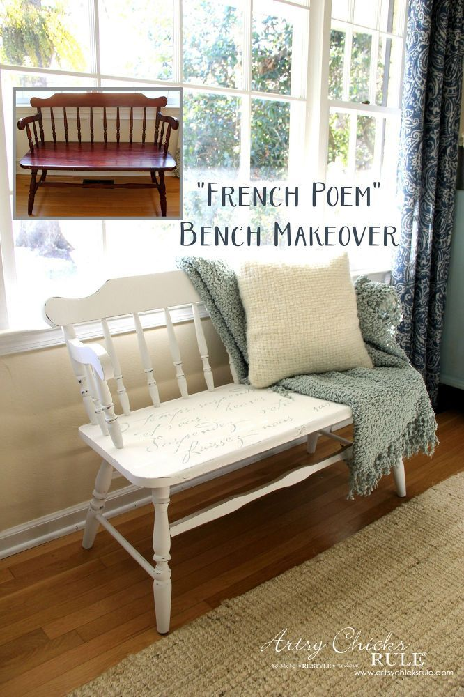 French Poem Bench Makeover