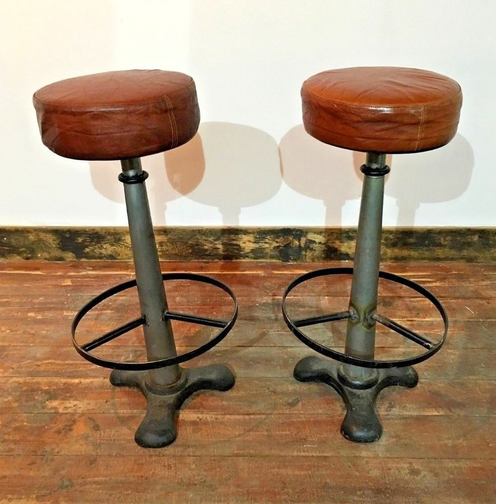 Pair Of Cast Iron Bar Stools By Sing Leather Seat Tops Singer