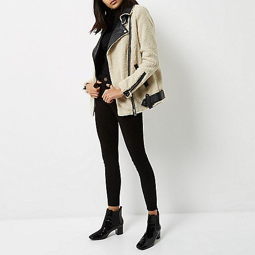 Cream borg aviator coat - coats - coats / jackets - women
