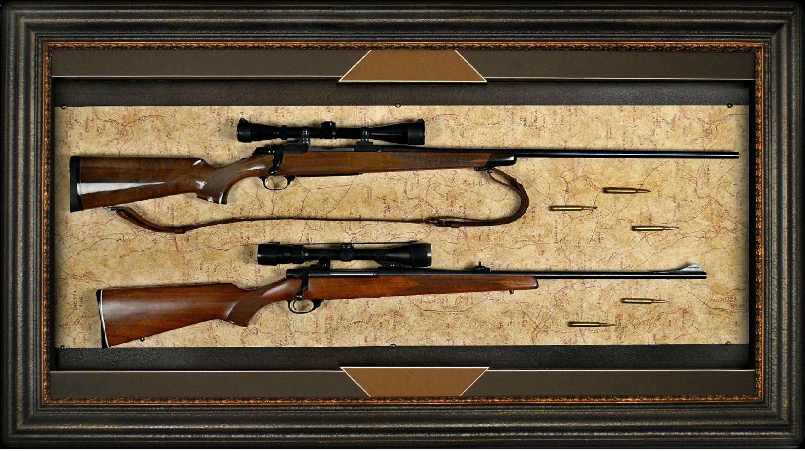 Double pistol handgun revolver gun display case cabinet rack shadowbox - Amazon Com Rifle Display Case Wall Mounted Dual Gun Display Case Perfect