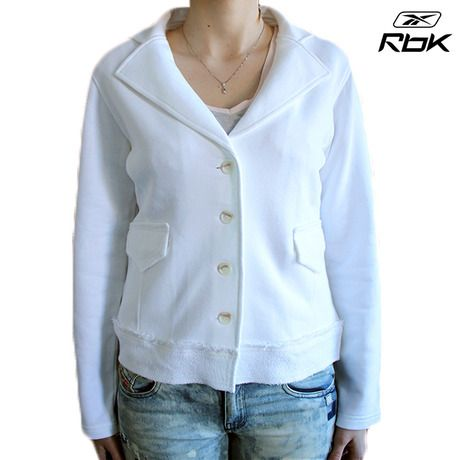 Reebok Women's 100% Cotton French Terry Blazer - White at 75% Savings off Retail!