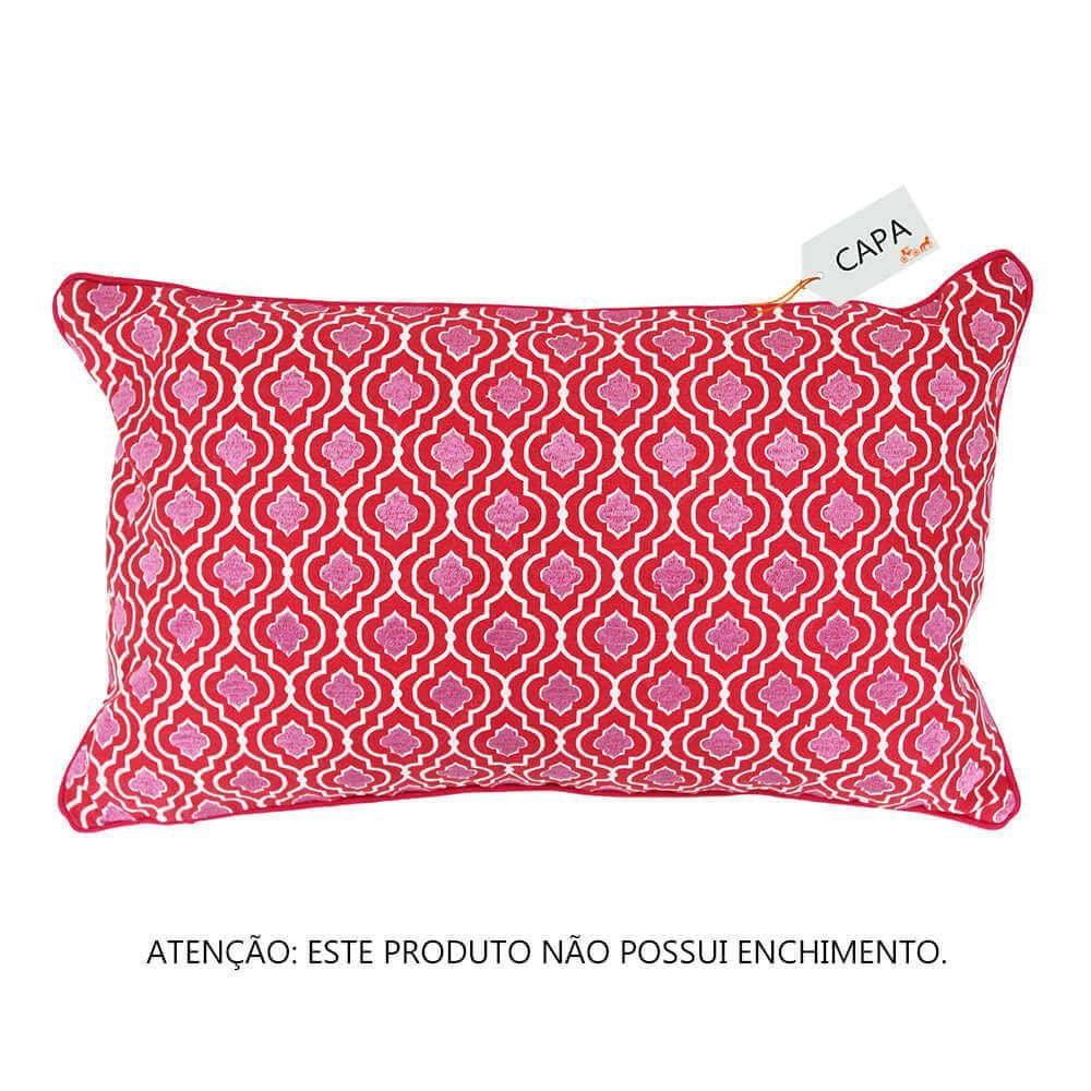 Capa para Almofada Al Ganda Rosa em Algodão - Ethnix - 50x30 cm