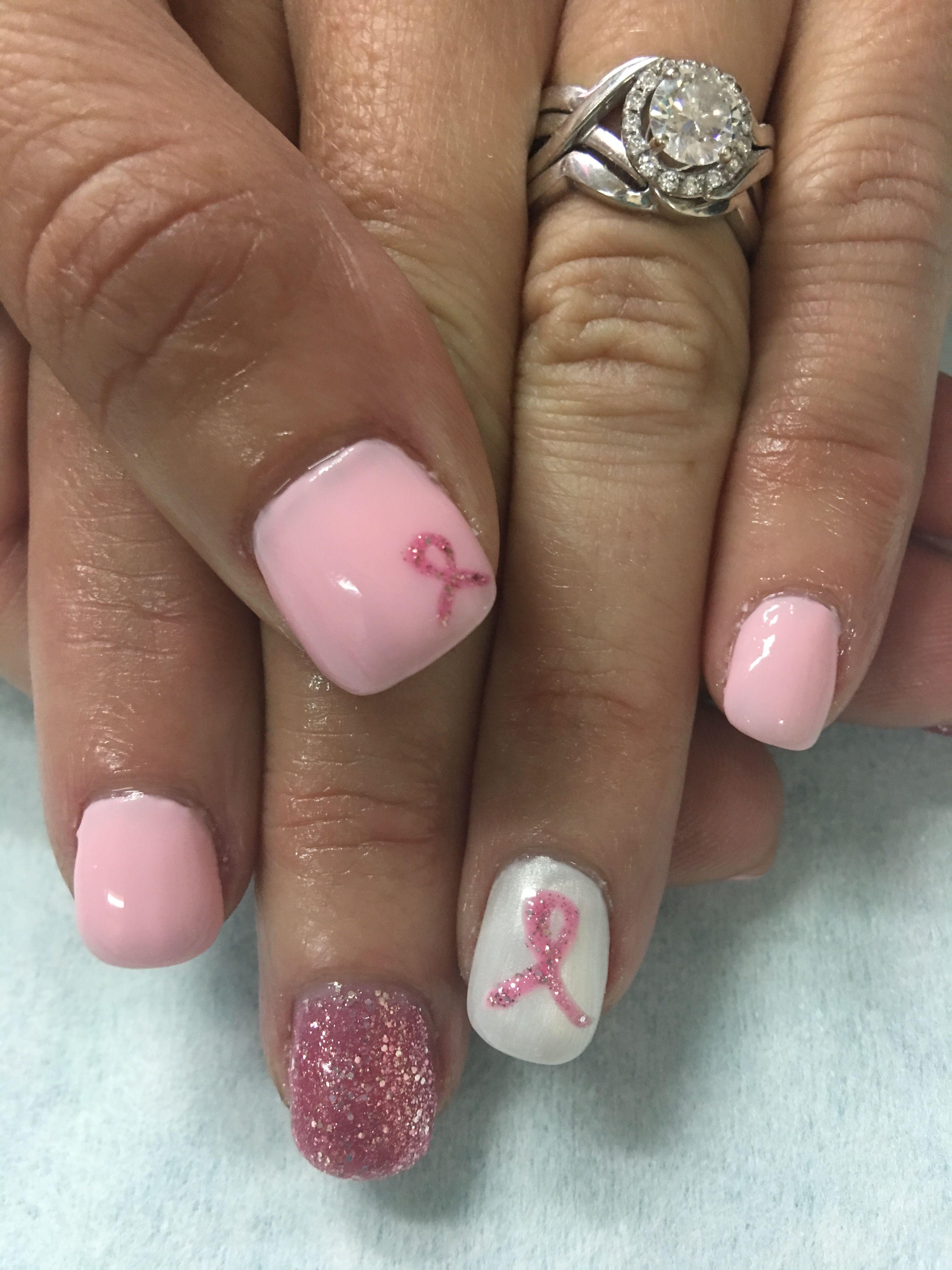 Pale Pink Ribbon Glitter Bling Gel Nails   Gel Nail designs ...