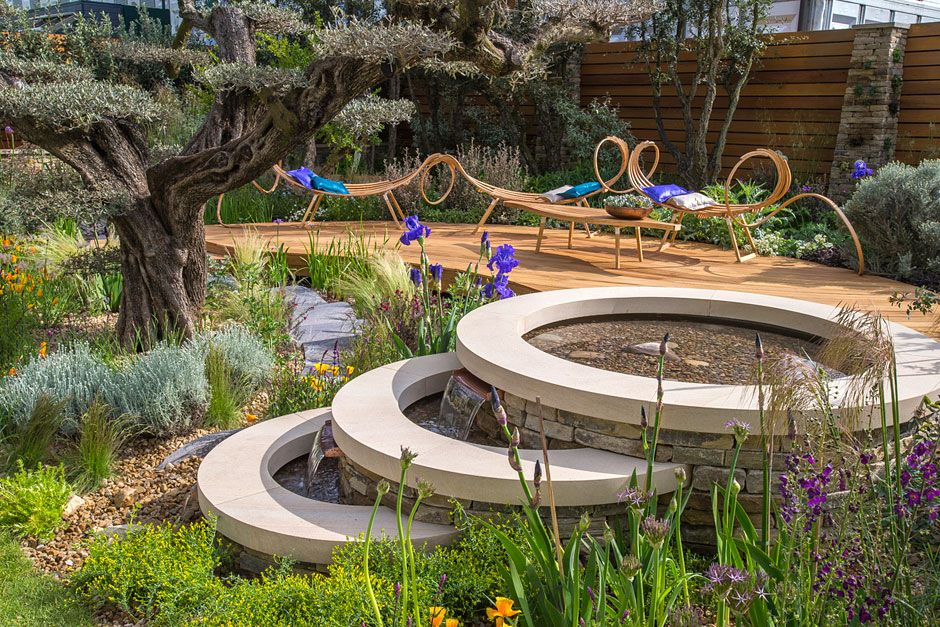 Matthew Wilson. The Royal Bank of Canada Garden at the Chelsea Flower Show / RHS Gardening. I LOVE the tree and the beautiful bench!…not the water fountain