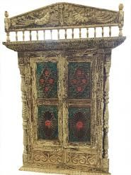 Jharokha Carved Door Rustic Terrace Window Indian Furniture Home Decor