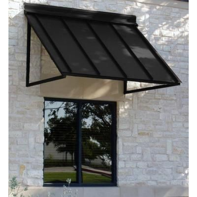 Beauty Mark 5 Ft Houstonian Metal Standing Seam Awning 24 In H X 24 In D In Black H22 5k The Home Depot Metal Awning Custom Awnings Window Awnings