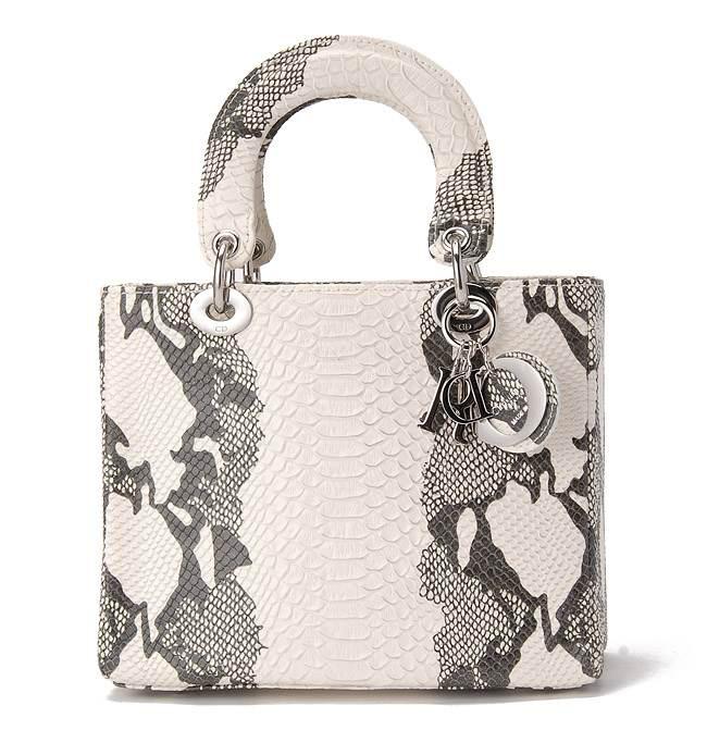 ccc3b04c98 Dior Lady Dior Snake Grain Leather Handbag w/silver charms ...