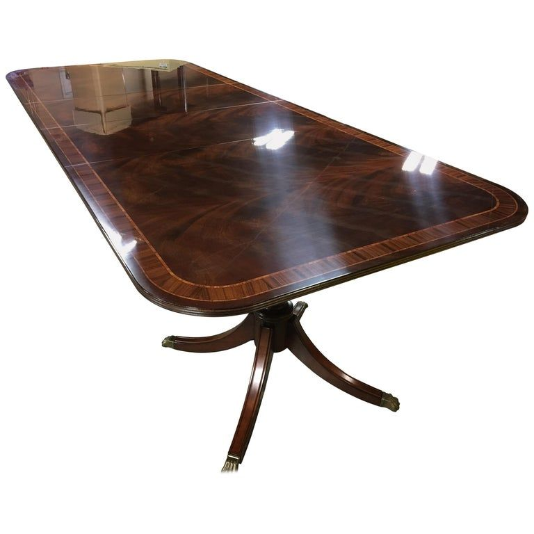 Multi Banded Wide Mahogany Georgian Style Dining Table By Leighton