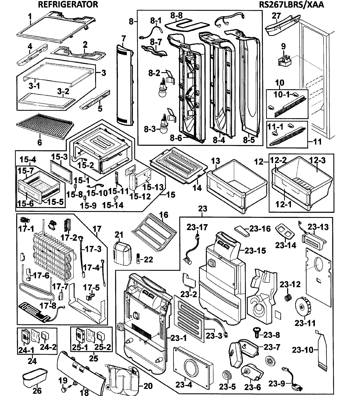 REFRIGERATOR Diagram & Parts List for Model RS267LBRSXAA0000 Samsung-Parts Refrigerator-Parts | SearsPartsDirect