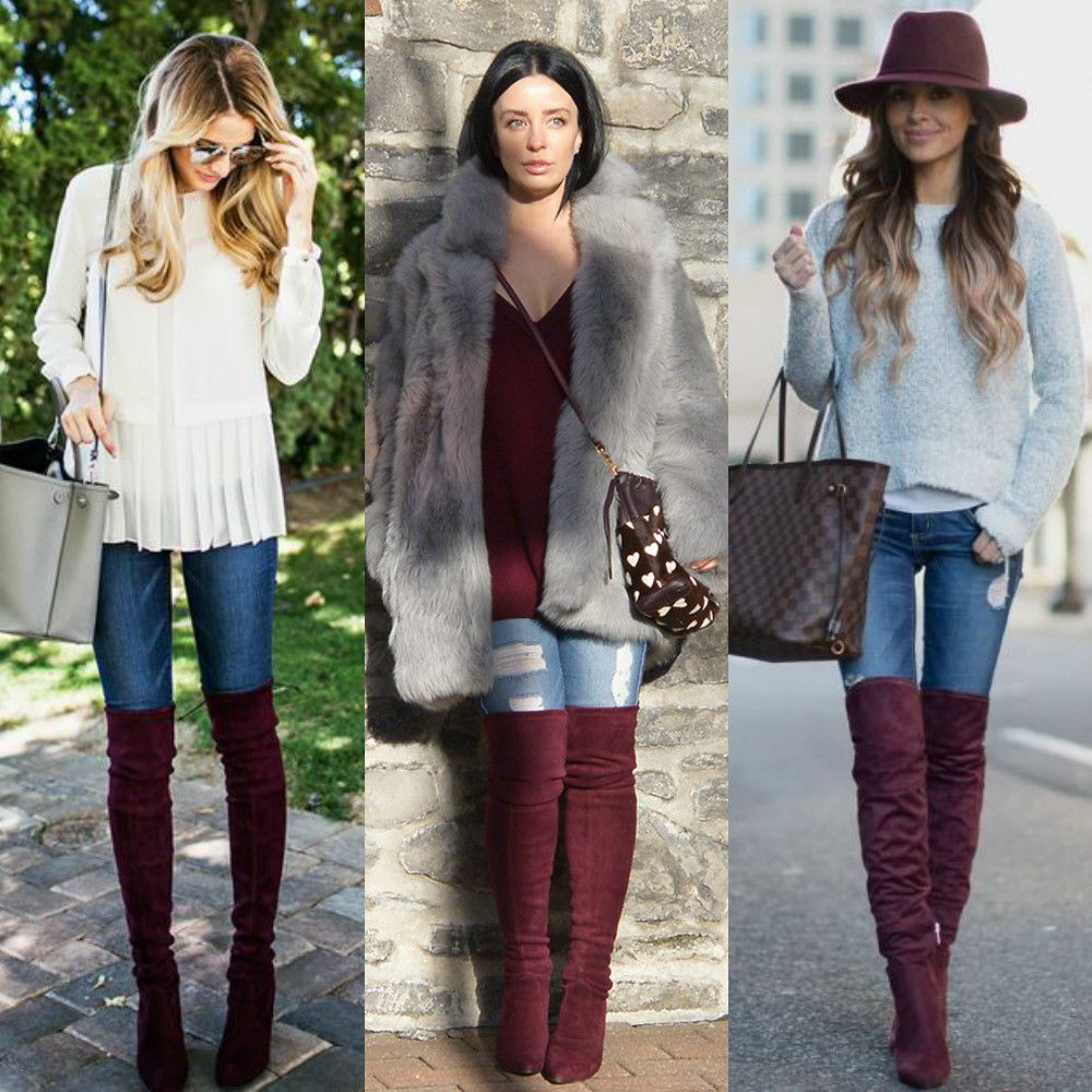 9337460cf68 Beleza Sem Drama  Trend  Over The Knee Boot Burgundy