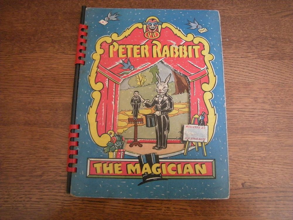 Complete Vintage 1942 Peter Rabbit The Magician Magic Trick Playset Book