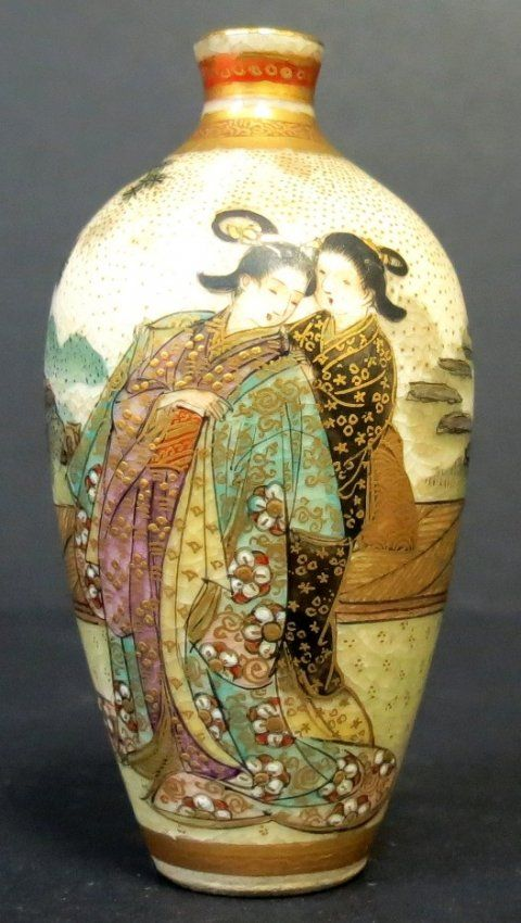 Satsuma Vase Miniature Very Rare Japan H 25 Lot 102