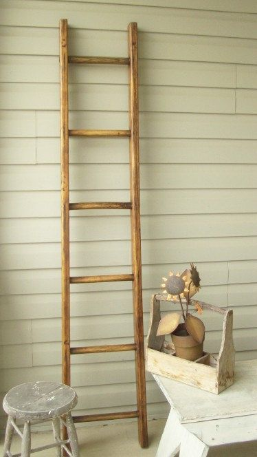 Orchard Ladder Vintage Refinished 7ft7in By Treasuresbybetsy 162 00 Ladder Decor Ladder Cool Items