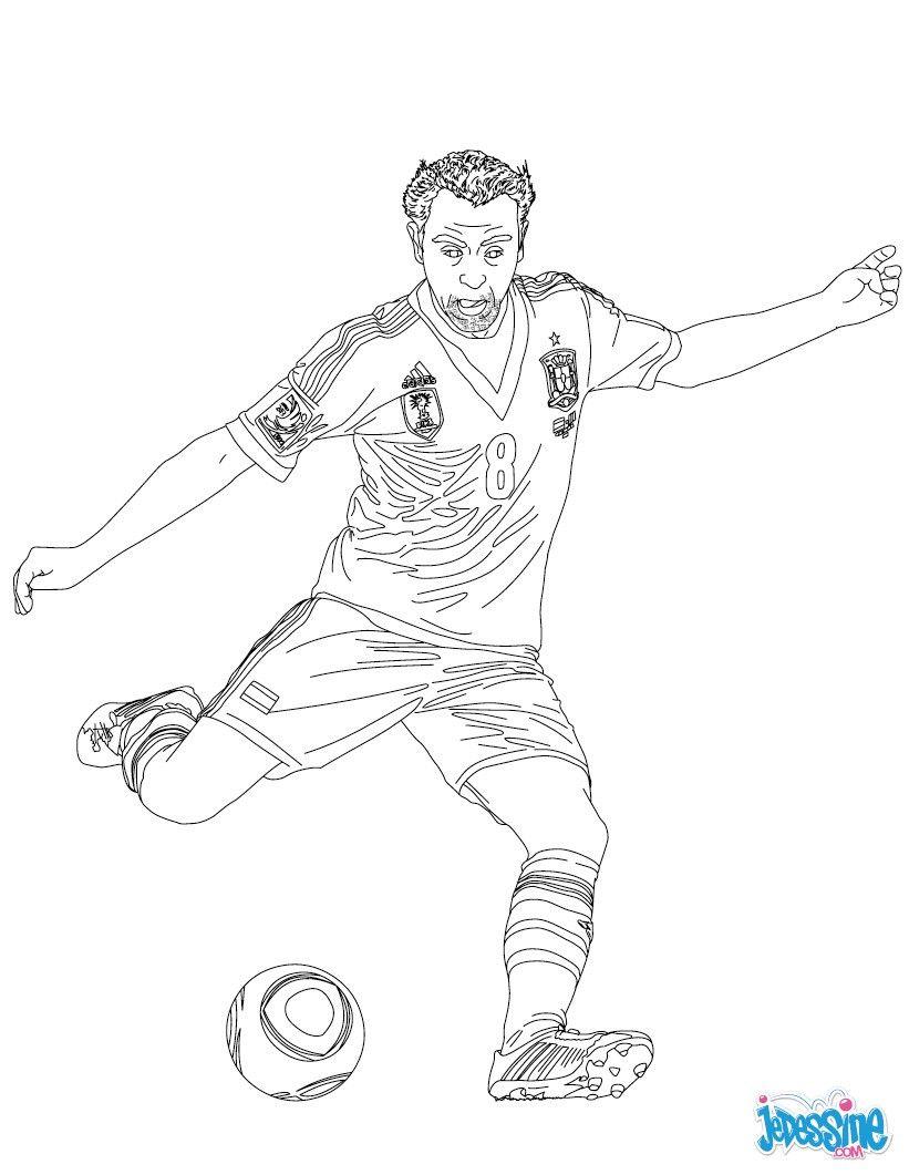 Coloriage du joueur de foot Xavi € imprimer gratuitement ou colorier en ligne sur hellokids
