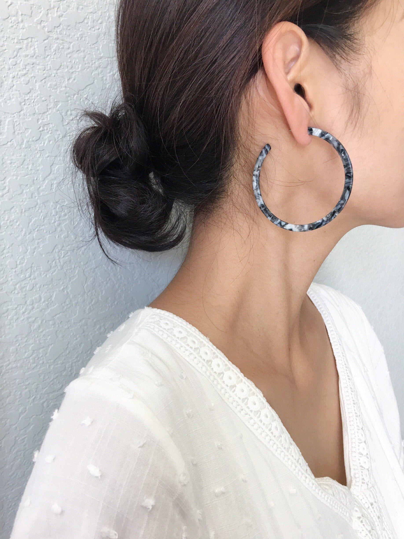 Tortoise shell earrings Acetate Hoop Earrings Resin Hoop Earrings Cerulean Blue Tortoise Shell Hoop Earrings Tortoise Earrings B35