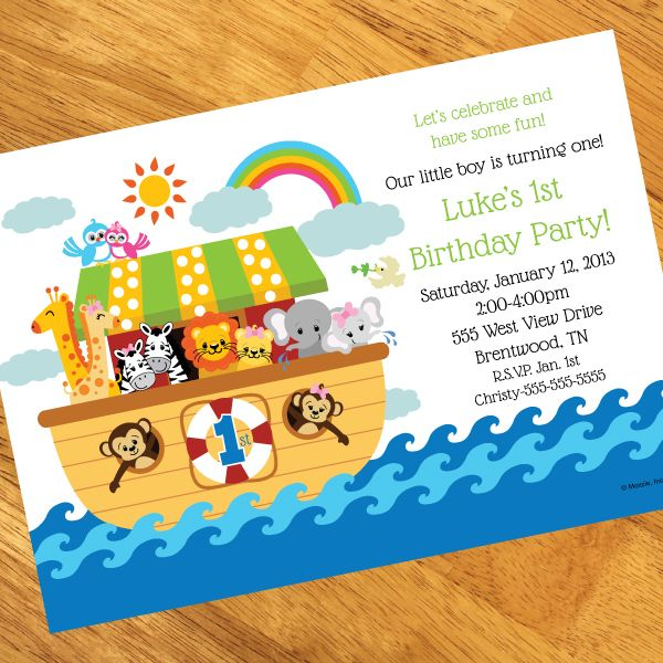 noah s ark 1st birthday personalized invitations party invitations